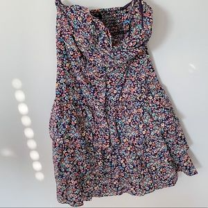 Express Strapless Floral Print Ruffle Dress Small